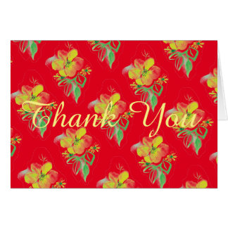 Yellow And Red Rose Graphic Art Thank You Card