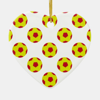 Yellow and Red Soccer Ball Pattern Ceramic Heart Decoration