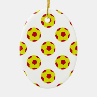 Yellow and Red Soccer Ball Pattern Ceramic Oval Decoration