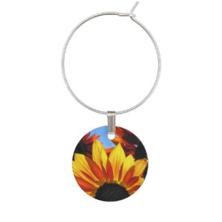 Yellow and Red Sunflower Garden Flowers Wine Charm