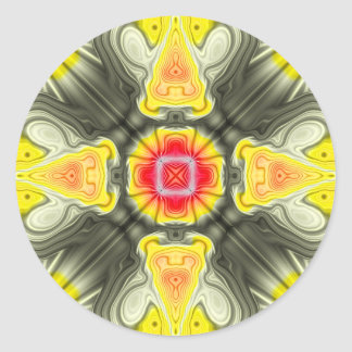Yellow And Red Symmetrical Design Round Sticker