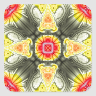 Yellow And Red Symmetrical Design Square Sticker