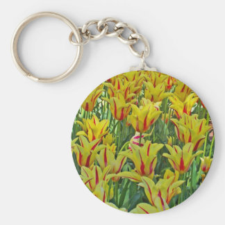 Yellow And Red Tulips... Basic Round Button Key Ring