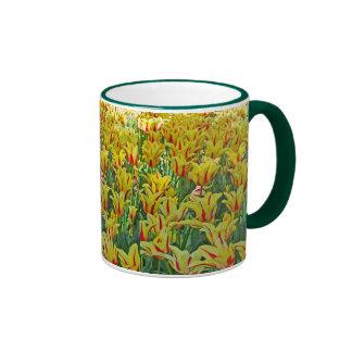 Yellow And Red Tulips... Ringer Mug