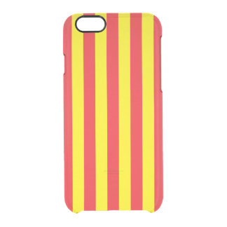 Yellow and Red Vertical Stripes Clear iPhone 6/6S Case