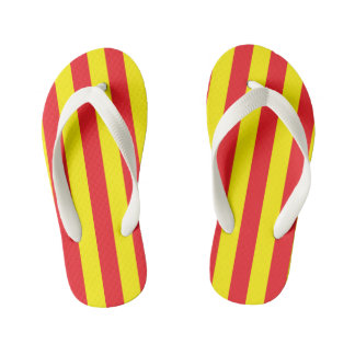 Yellow and Red Vertical Stripes Kid's Thongs