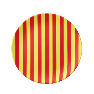 Yellow and Red Vertical Stripes Plate