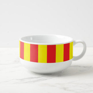 Yellow and Red Vertical Stripes Soup Mug