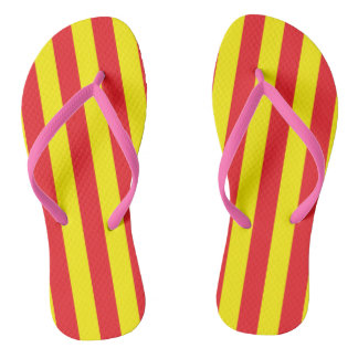 Yellow and Red Vertical Stripes Thongs