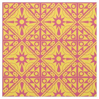 Yellow and Rose Geometric Fabric