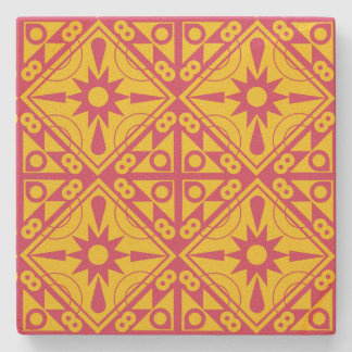 Yellow and Rose Geometric Stone Coaster