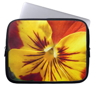 Yellow and Rusty Red Pansy Laptop Sleeve