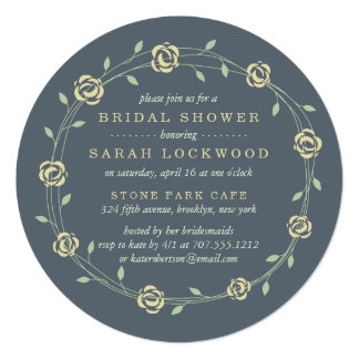 Yellow and Sage Green Floral Wreath Bridal Shower Card
