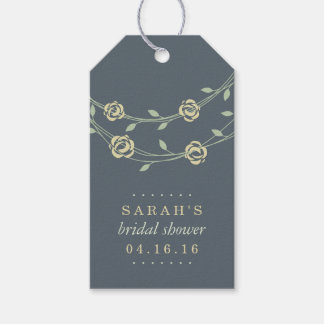 Yellow and Sage Green Floral Wreath Bridal Shower Gift Tags