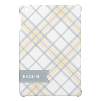 Yellow and Silver Gray Plaid Monogram iPad Cover For The iPad Mini