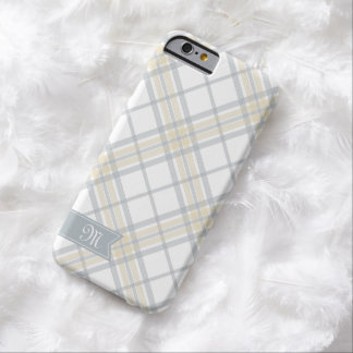 Yellow and Silver Gray Plaid Monogram iPhone 6 Barely There iPhone 6 Case