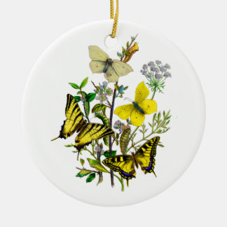 Yellow and Swallowtail Butterflies Ceramic Ornament