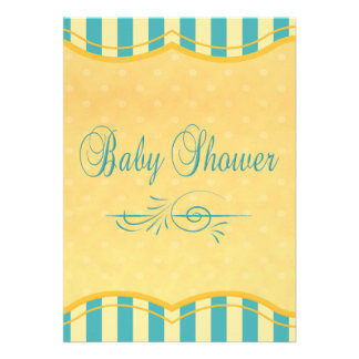 Yellow and Teal Baby  Shower  Invitation