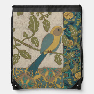 Yellow and Teal Blue Bird Perched on a  Branch Rucksacks