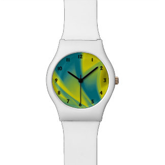 Yellow and Teal Swirl Watch