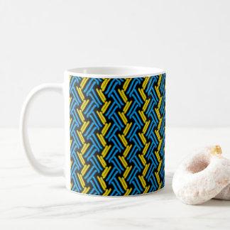 Yellow and Turquoise Tribal Chevron Pattern Coffee Mug