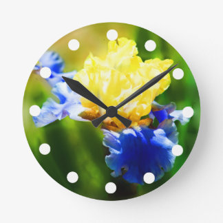 Yellow and Violet Iris Clock