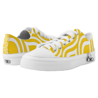 Yellow and White Abstract Design Printed Shoes