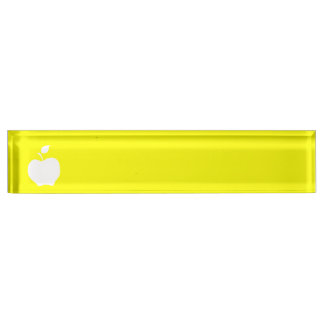 Yellow and White Apple Nameplate