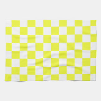 Yellow and White Checkerboard Pattern Tea Towel