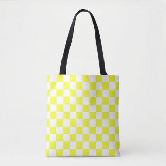 Yellow and White Checkerboard Pattern Tote Bag