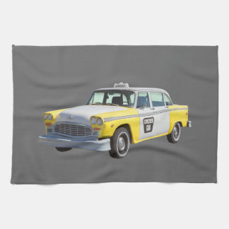 Yellow and White Checkered Taxi Cab Tea Towel