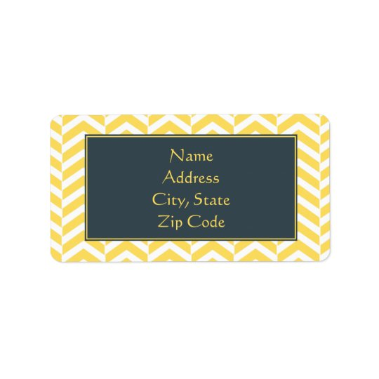 Yellow and White Chevron with Charcoal Address Label