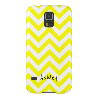 Yellow And White Chevron With Custom Name Galaxy S5 Cover