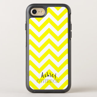 Yellow And White Chevron With Custom Name OtterBox Symmetry iPhone 8/7 Case