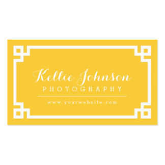 Yellow and White Chic Greek Key Border Pack Of Standard Business Cards