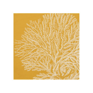 Yellow and White Coral Wood Print