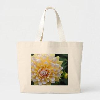 Yellow and White Dahlia Large Tote Bag