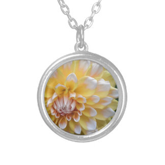 Yellow and White Dahlia Silver Plated Necklace