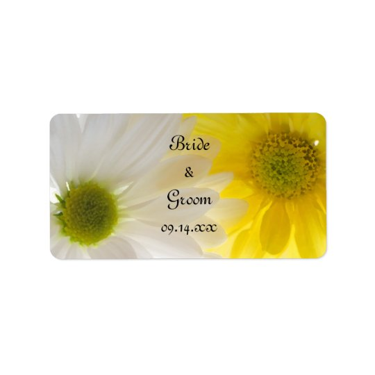 Yellow and White Daisies Wedding Favour Tags Address Label