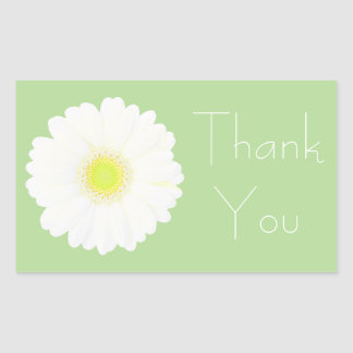 Yellow and White Daisy on Pale Green Thank You Rectangular Sticker