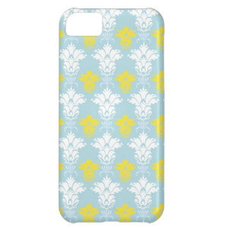 Yellow and white damask pattern on blue background iPhone 5C case