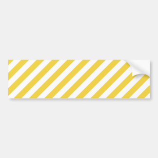 Yellow and White Diagonal Stripes Pattern Bumper Sticker