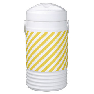 Yellow and White Diagonal Stripes Pattern Drinks Cooler