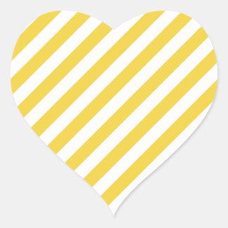 Yellow and White Diagonal Stripes Pattern Heart Sticker