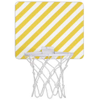 Yellow and White Diagonal Stripes Pattern Mini Basketball Hoop