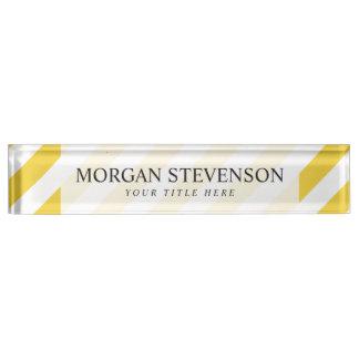 Yellow and White Diagonal Stripes Pattern Nameplate