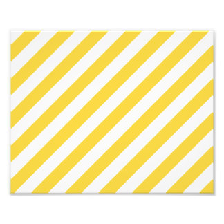 Yellow and White Diagonal Stripes Pattern Photo Print