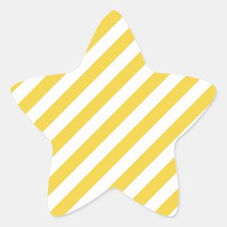 Yellow and White Diagonal Stripes Pattern Star Sticker