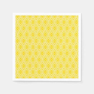 Yellow and White Diamond Napkins Paper Serviettes