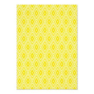 Yellow and White Diamonds 13 Cm X 18 Cm Invitation Card